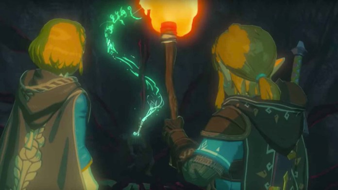 Breath of the Wild 2 trailer screenshot showing Link and Zelda in a dungeon