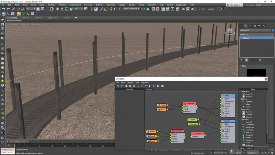 3ds Max: use RailClone to build boardwalk
