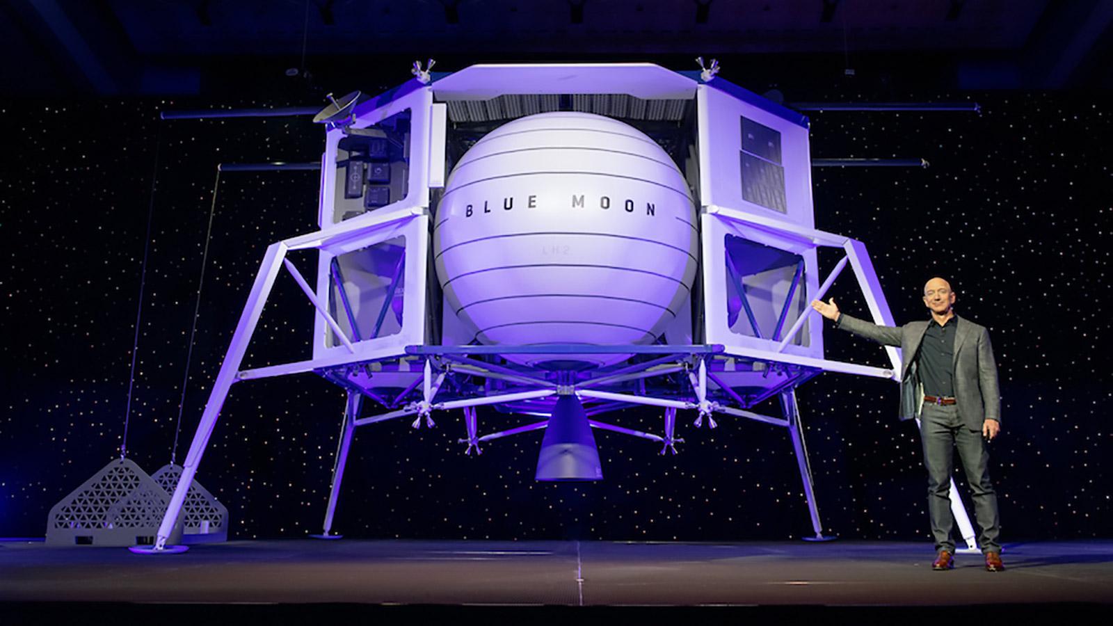 Jeff Bezos Standing Next To Blue Moon, Blue Origin's Proposed Lunar Lander