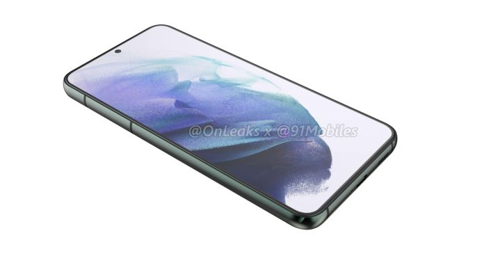A render of the rumored Samsung Galaxy S22 Plus on a white background
