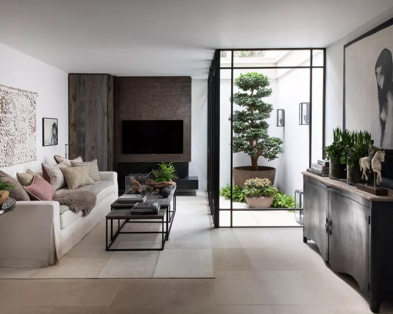 Scandinavian living room with wood floor, white walls and plants