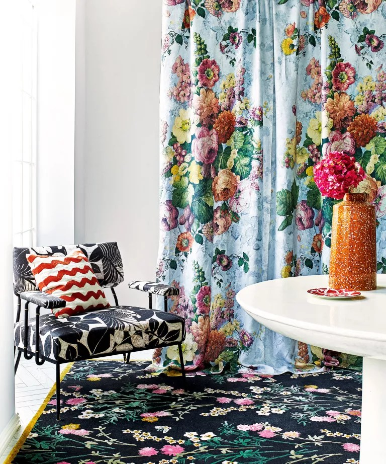Mid-century modern living room with florals