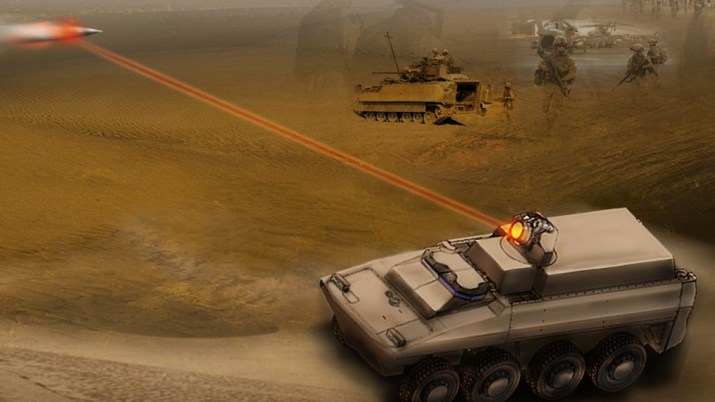 concept image of laser-equipped vehicle shooting down a missile