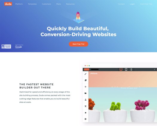 Choose a website builder: Duda