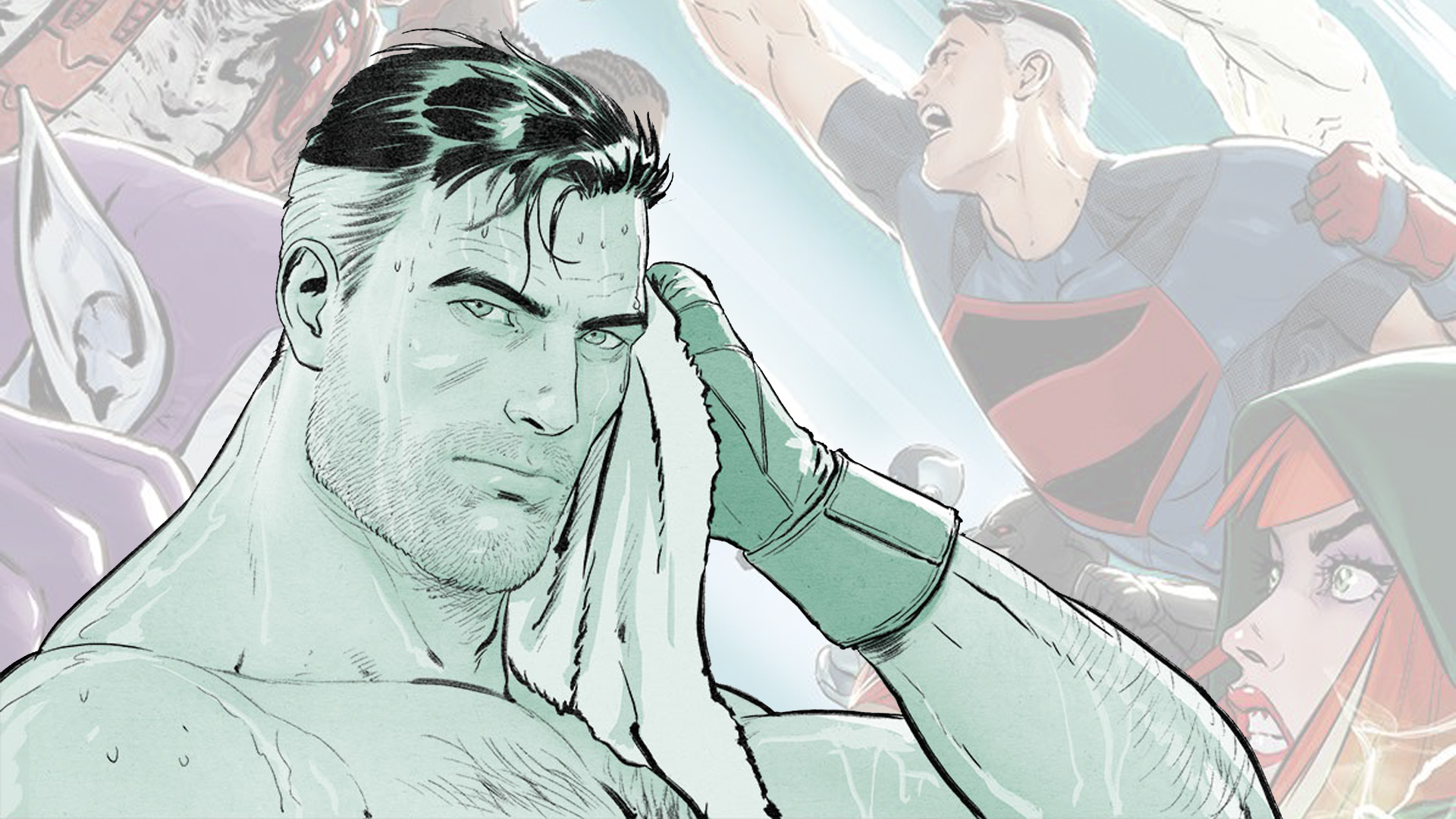 Superman is shirtless and sweaty, looking at the camera with a towel to his face.
