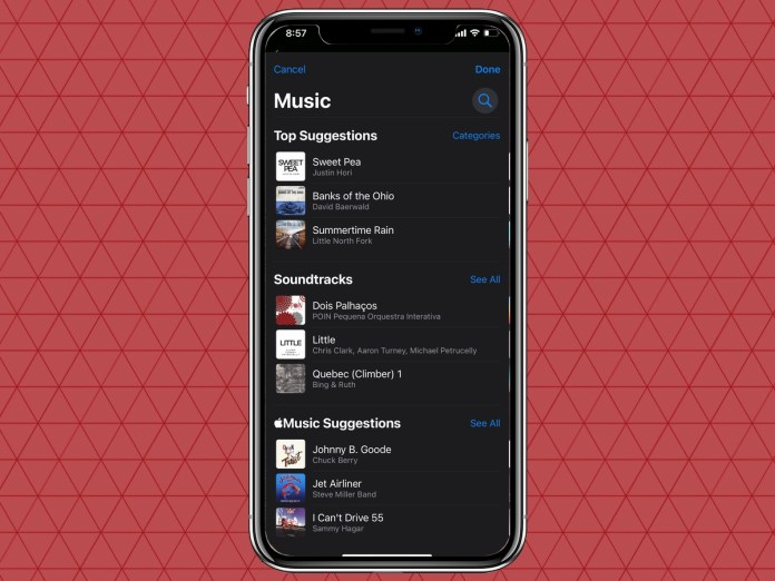 a list of songs to select to play during memories in iOS 15 Photos