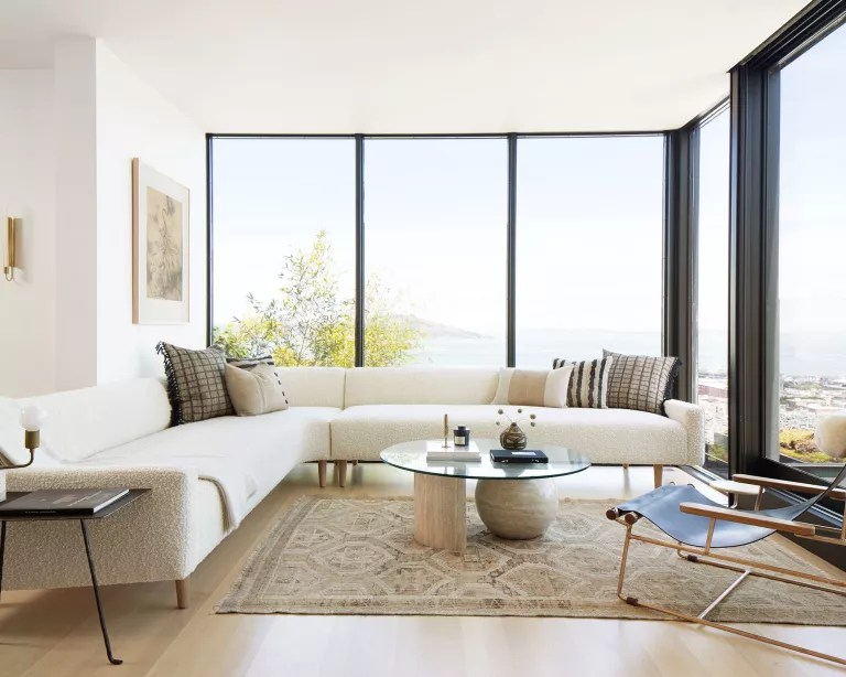 Minimalist living room with white walls
