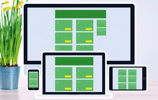 Screens of different dimensions showing a web app mockup scaling