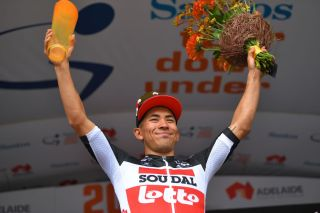Caleb Ewan on the podium after his stage 2 win