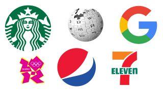 Logo designs for Starbucks, Wikipedia, Google, London 2012, Pepsi and 7-Eleven