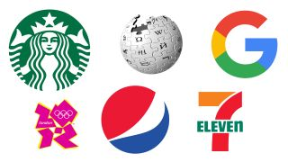 Logo designs for Starbucks, Wikipedia, Google, London 2012, Pepsi and 7-Eleven