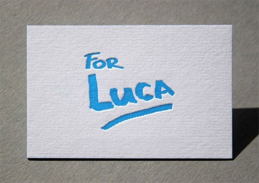 letterpress business cards: For Luca