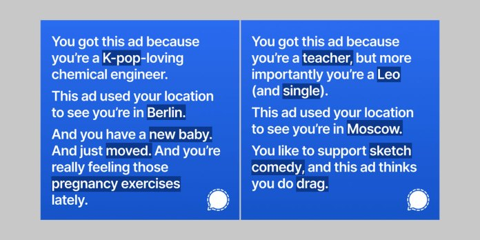 Two ads by Signal that were rejected from Instagram.