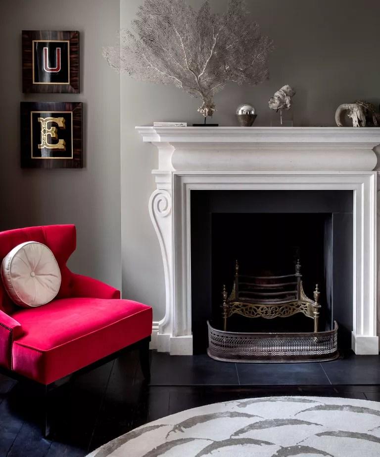 Black living room with black wooden flooring