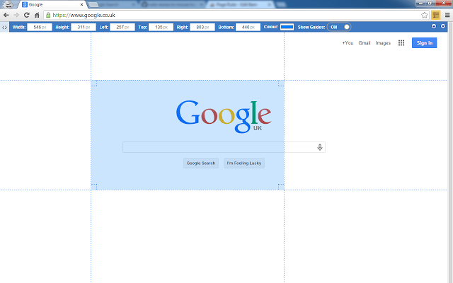 Google Chrome extensions - Page Ruler