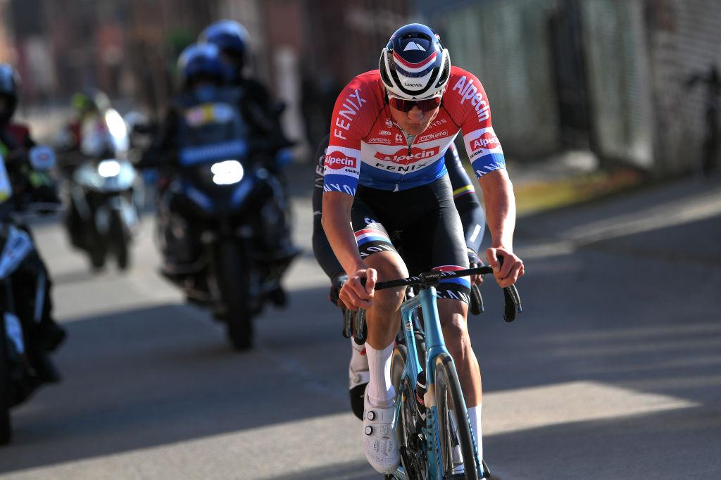 https www cyclingnews com news mathieu van der poel goes down swinging in kuurne brussel kuurne with 80km break