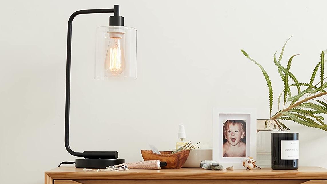 Best desk lamps: Simple Designs Lantern Glass Shade Desk Lamp