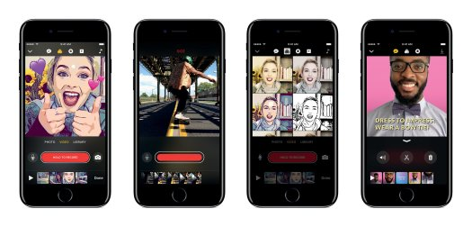 Best video editing apps: Apple Clips on four different phonescreens