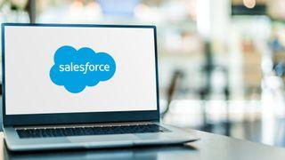 Salesforce logo on a laptop screen