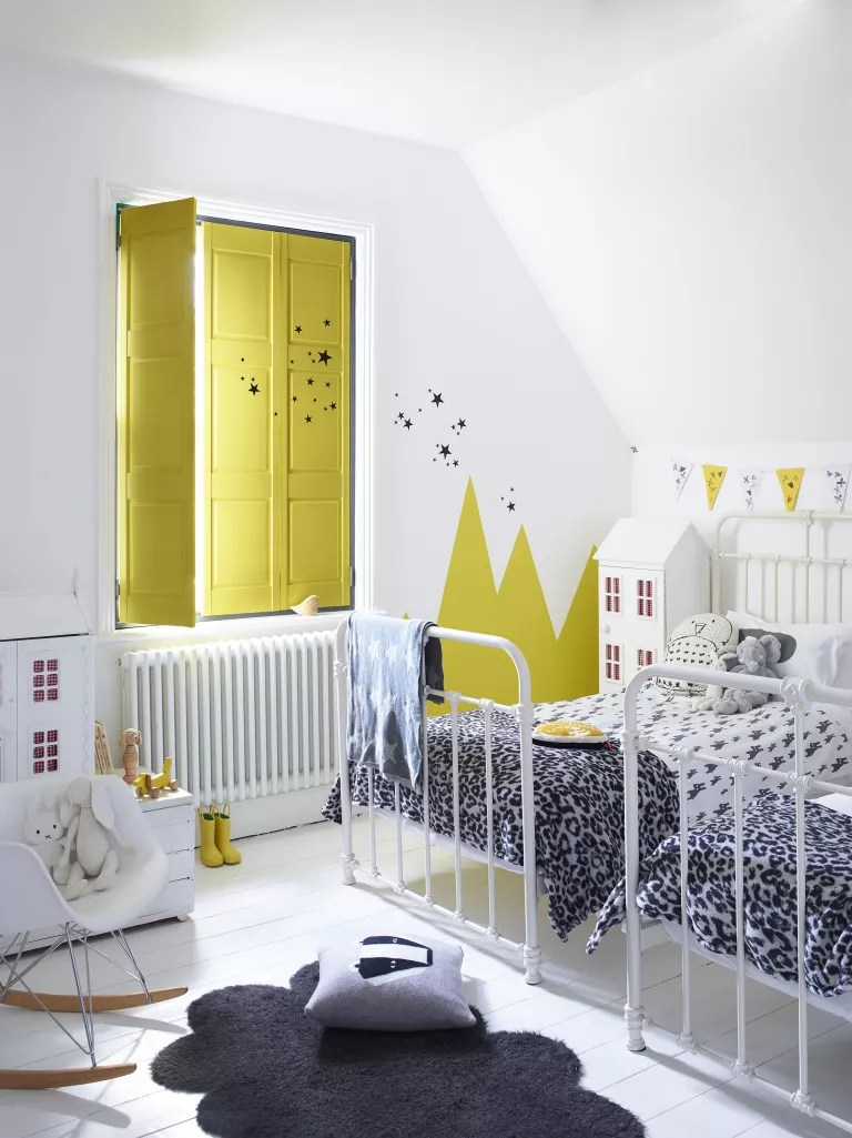Small children's bedroom ideas with yellow shutters