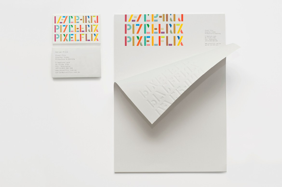 Pixelflix's embossed and rainbow-coloured typography letterhead