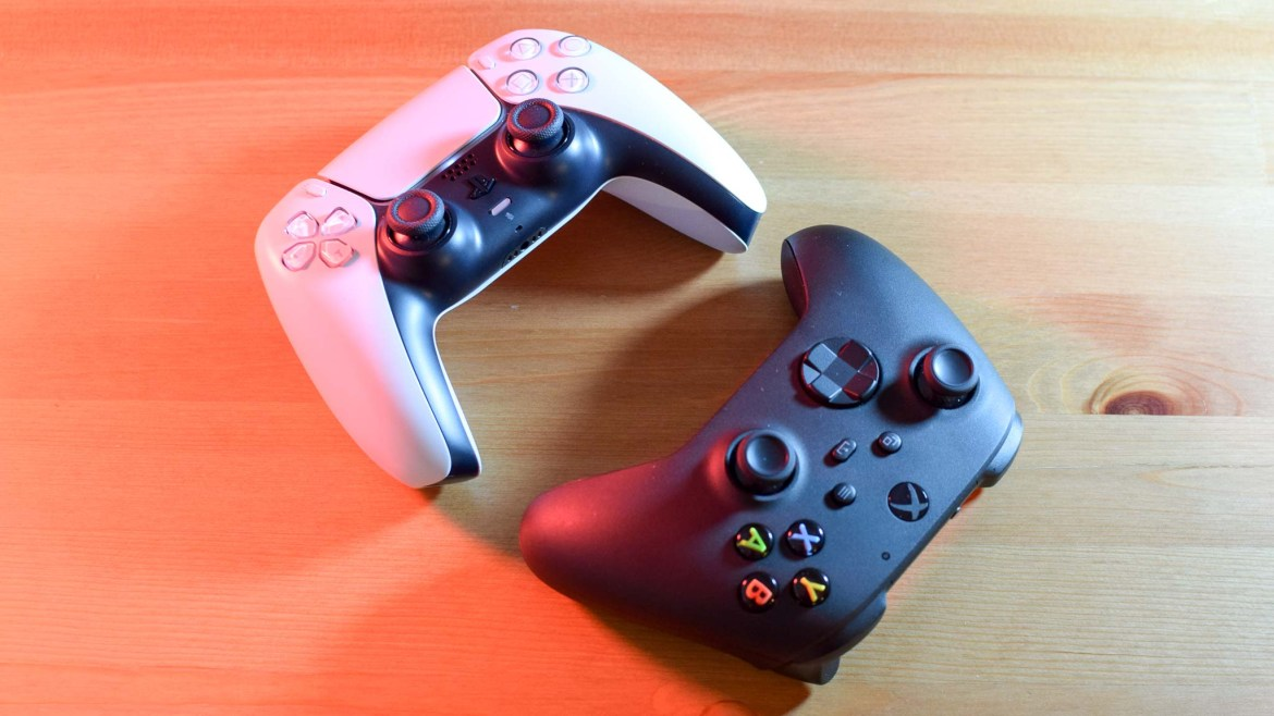 PS5 DualSense controller and Xbox Wireless controller