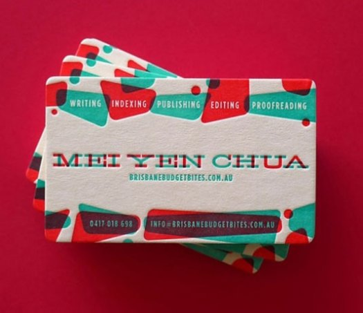 Letterpress business cards: Mei Yen Chua