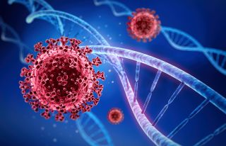 Illustration of coronavirus and genetic material.