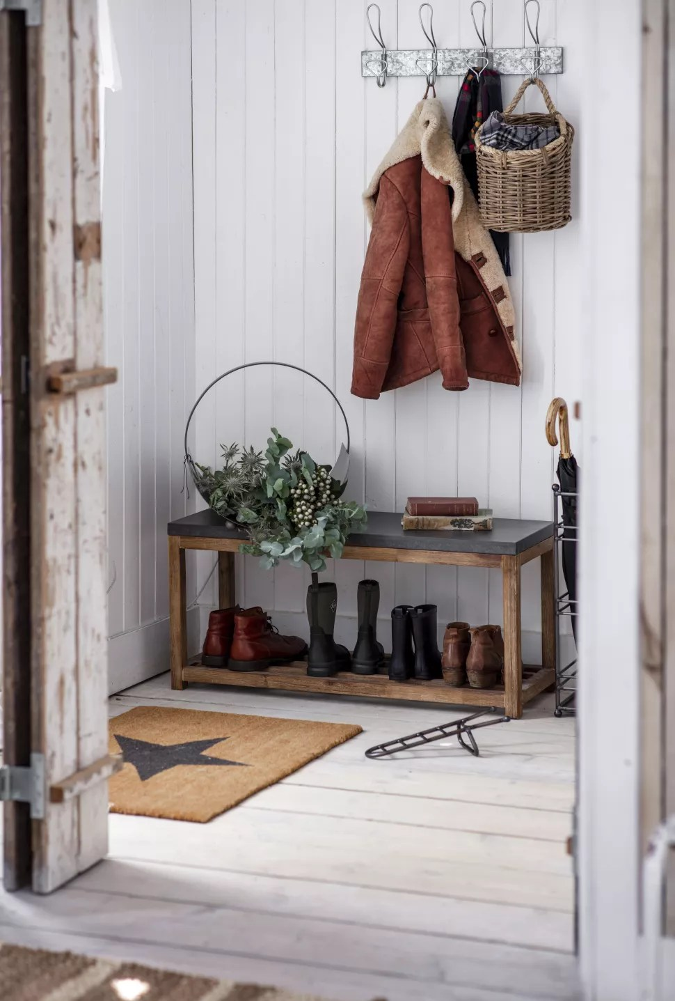 small hallway ideas with a storage bench for shoes