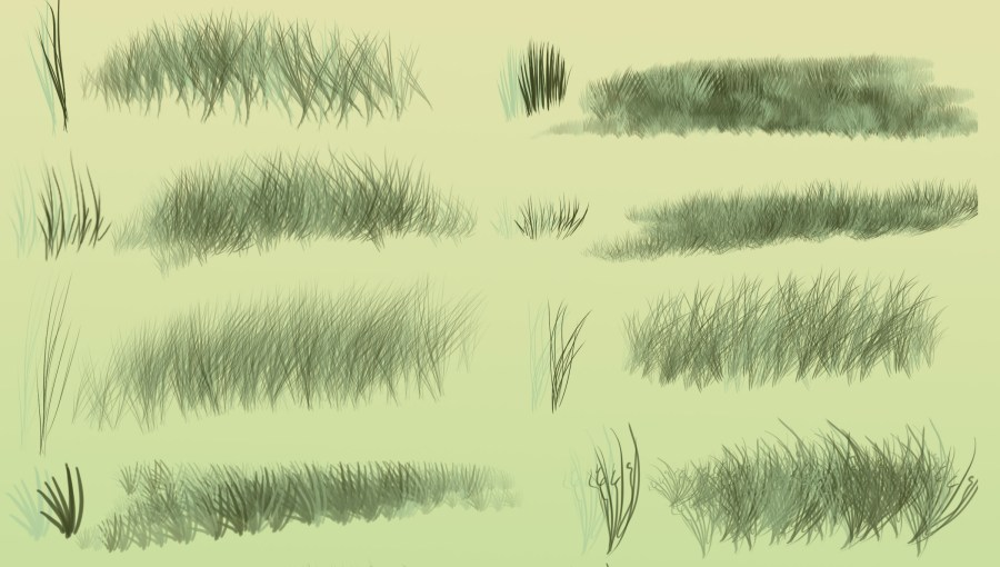 Grass or fur Photoshop brushes