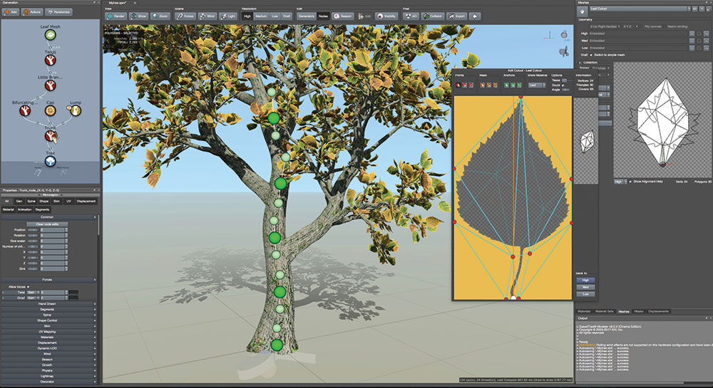SpeedTree Cinema 8 screenshot shows a tree and leaf being designed
