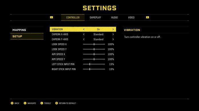 Returnal DualSense settings