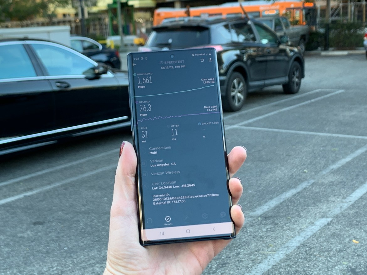 Speed tests on Verizon's 5G network, which is built using mmWave.