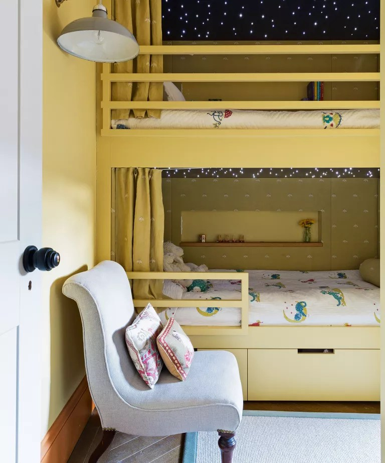 Kids room paint ideas yellow bedroom with bunk beds