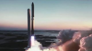 SpaceX's Super Heavy rocket booster launches the Starship interplanetary spacecraft in this still from a SpaceX animation.