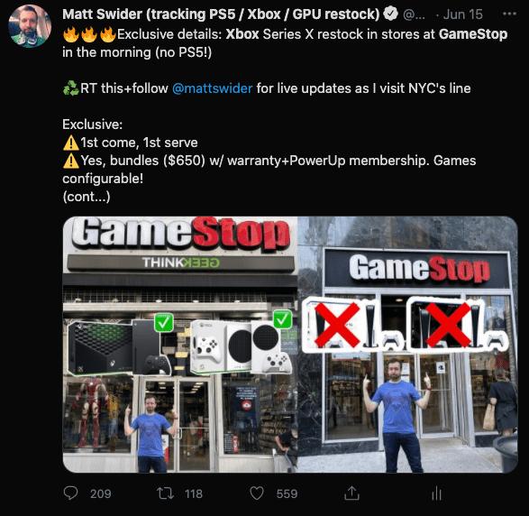 Xbox Series X restock at GameStop Twitter alert from Matt Swider