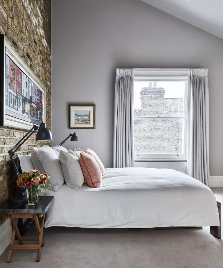Bedroom accent wall ideas with exposed brick wall