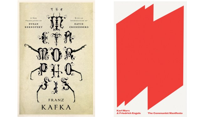 book cover designs for Metamorphosis and The Communist Manifesto