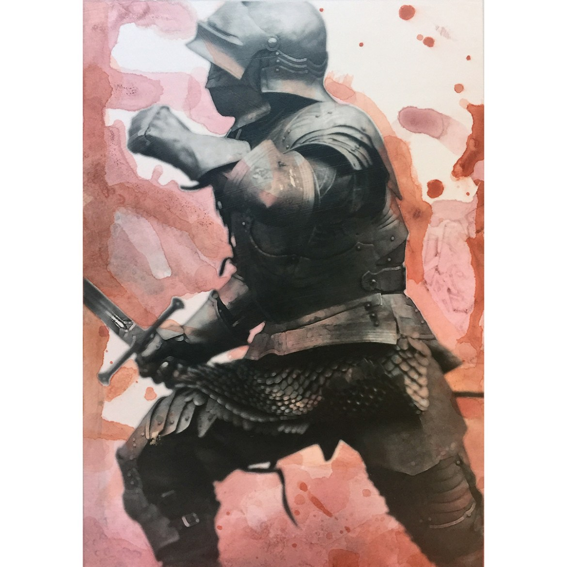 Painting of the knight with a pink blobby painted background