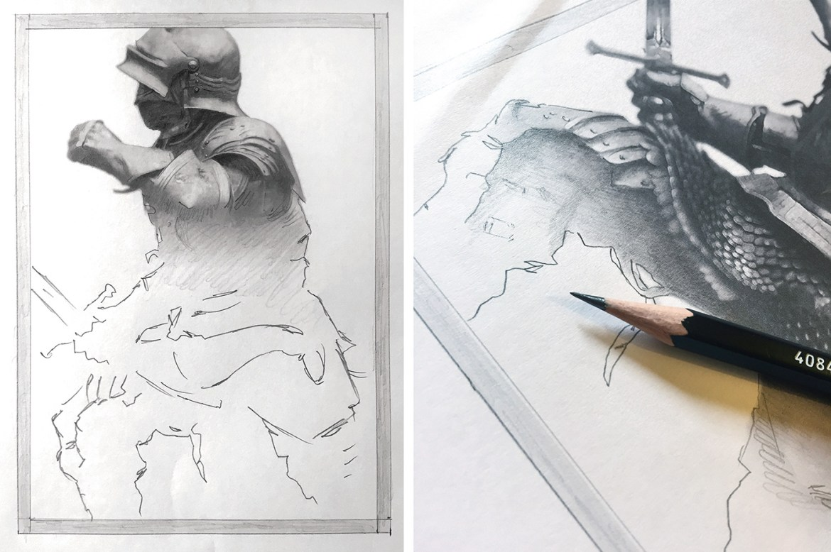 A pencil drawing of the knight takes shape, with the top shaded while the bottom is still white