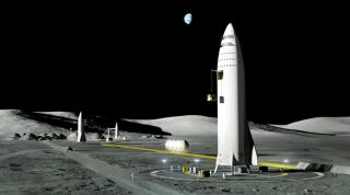 Artist's depiction of the ITS/BFR/Starship on the moon.