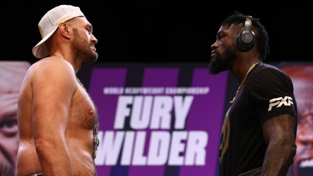 Tyson Fury and Deontay Wilder face-to-face at a press conference