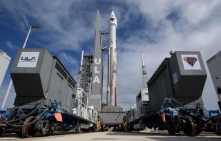 A United Launch Alliance (ULA) Atlas V rocket rolled out to the launch pad on Oct. 14, 2021, with NASA's Lucy mission to the Trojan asteroids at its tip.