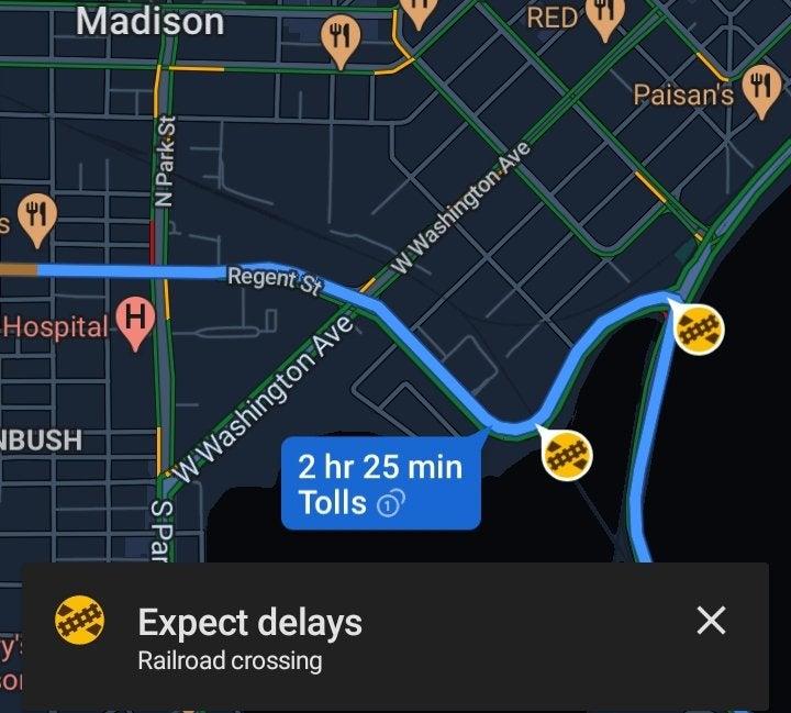google maps train crossing