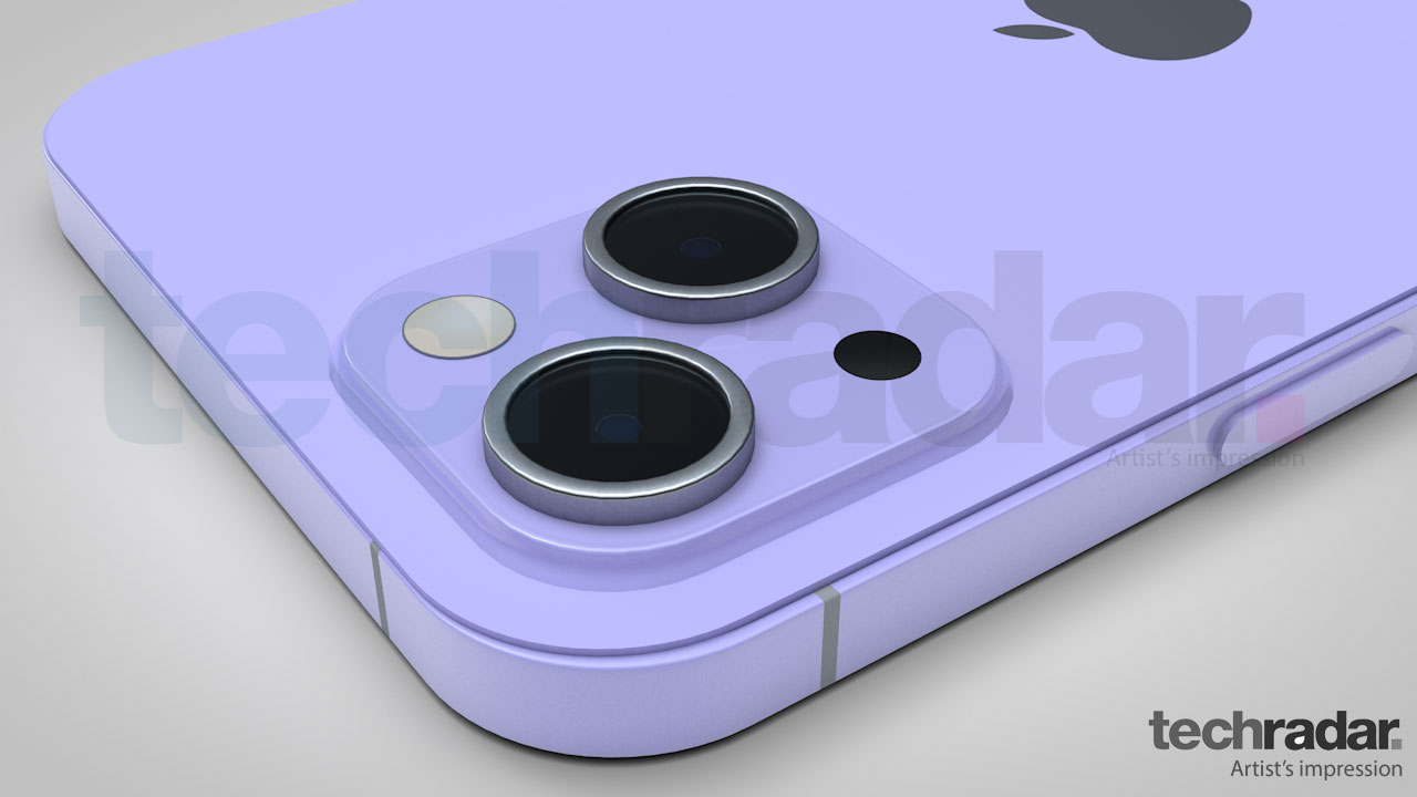 An artist's impression of the iPhone 13's camera in purple