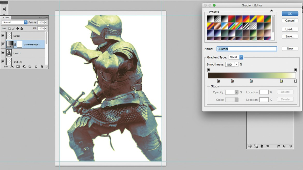 Knight picture in Photoshop, with colour palette tools up to give it a grey, blue and yellow tint