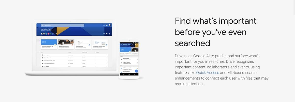 A webpage discussing Google Drive's use of AI for file searches