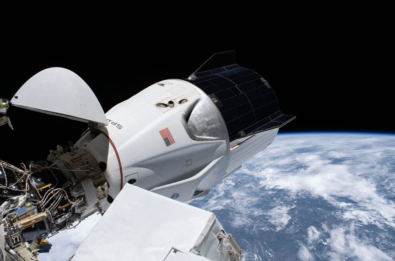 "The SpaceX Crew Dragon spacecraft ""Resilience"" is seen docked to the Harmony module's forward docking adapter at the International Space Station on Jan. 27, 2021, 11 days before surpassing the U.S. crewed spacecraft flight duration record held by Skylab 4 since 1974."