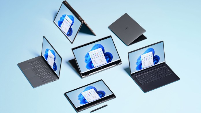 a collection of Windows 11 laptops