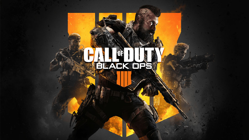 Cover art for Call of Duty: Black Ops 4, which shows a soldier holding a gun.